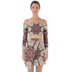 Pattern Round Abstract Geometric Off Shoulder Top With Skirt Set