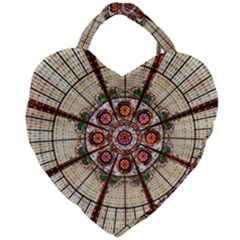 Pattern Round Abstract Geometric Giant Heart Shaped Tote by Nexatart
