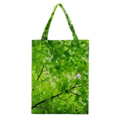 Green Wood The Leaves Twig Leaf Texture Classic Tote Bag