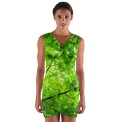 Green Wood The Leaves Twig Leaf Texture Wrap Front Bodycon Dress