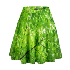 Green Wood The Leaves Twig Leaf Texture High Waist Skirt