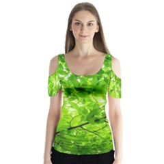 Green Wood The Leaves Twig Leaf Texture Butterfly Sleeve Cutout Tee