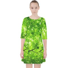 Green Wood The Leaves Twig Leaf Texture Pocket Dress