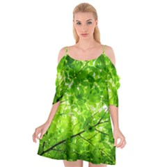 Green Wood The Leaves Twig Leaf Texture Cutout Spaghetti Strap Chiffon Dress
