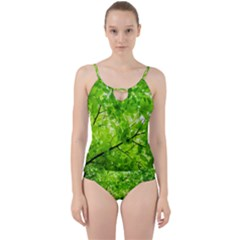 Green Wood The Leaves Twig Leaf Texture Cut Out Top Tankini Set
