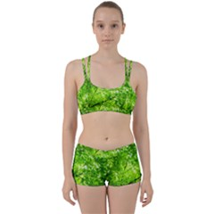 Green Wood The Leaves Twig Leaf Texture Women s Sports Set