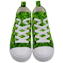 Green Wood The Leaves Twig Leaf Texture Kid s Mid Top Canvas Sneakers