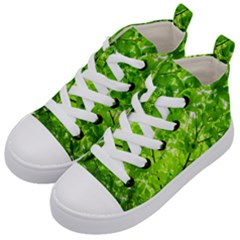 Green Wood The Leaves Twig Leaf Texture Kid s Mid Top Canvas Sneakers by Nexatart