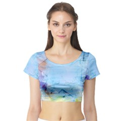 Background Art Abstract Watercolor Short Sleeve Crop Top