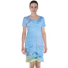 Background Art Abstract Watercolor Short Sleeve Nightdress