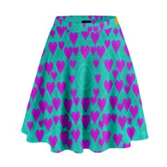 Raining Love And Hearts In The  Wonderful Sky High Waist Skirt by pepitasart