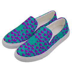 Raining Love And Hearts In The  Wonderful Sky Men s Canvas Slip Ons by pepitasart