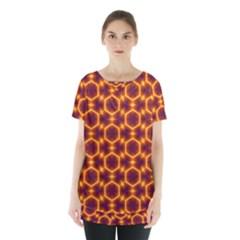 Black And Orange Diamond Pattern Skirt Hem Sports Top by Fractalsandkaleidoscopes