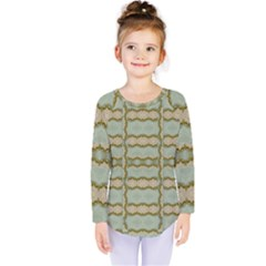 Celtic Wood Knots In Decorative Gold Kids  Long Sleeve Tee