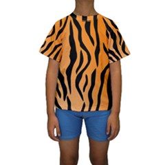 Tiger Fur 2424 100p Kids  Short Sleeve Swimwear by SimplyColor