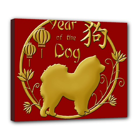 Year Of The Dog   Chinese New Year Deluxe Canvas 24  X 20   by Valentinaart