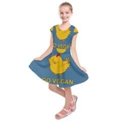 Go Vegan   Cute Chick  Kids  Short Sleeve Dress by Valentinaart