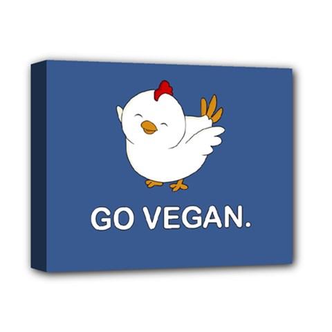 Go Vegan   Cute Chick  Deluxe Canvas 14  X 11  by Valentinaart