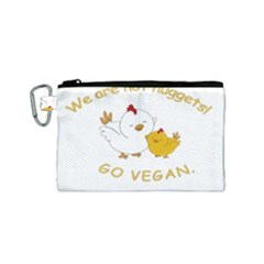 Go Vegan   Cute Chick  Canvas Cosmetic Bag (small) by Valentinaart