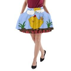 Go Vegan   Cute Chick  A Line Pocket Skirt by Valentinaart