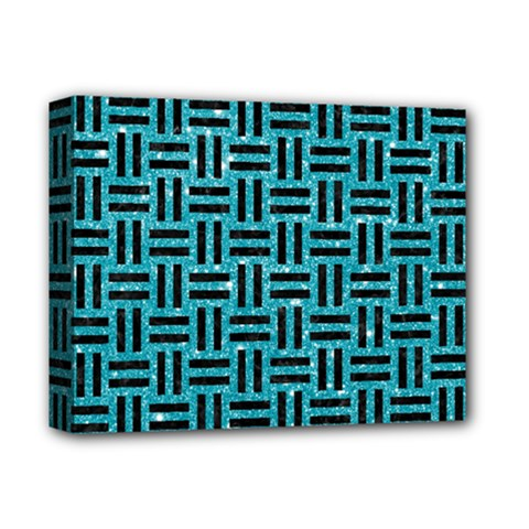 Woven1 Black Marble & Turquoise Glitter Deluxe Canvas 14  X 11  by trendistuff