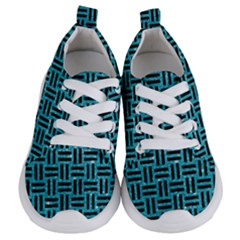 Woven1 Black Marble & Turquoise Glitter Kids  Lightweight Sports Shoes