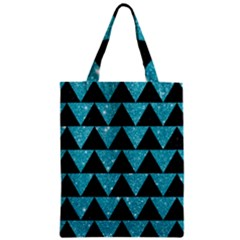 Triangle2 Black Marble & Turquoise Glittertriangle2 Black Marble & Turquoise Glitter Zipper Classic Tote Bag by trendistuff