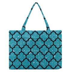 Tile1 Black Marble & Turquoise Glitter Zipper Medium Tote Bag by trendistuff