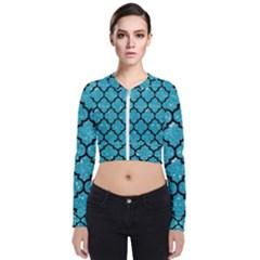 Tile1 Black Marble & Turquoise Glitter Bomber Jacket