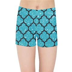 Tile1 Black Marble & Turquoise Glitter Kids Sports Shorts