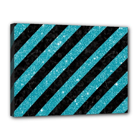 Stripes3 Black Marble & Turquoise Glitter (r) Canvas 16  X 12