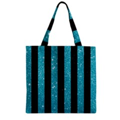 Stripes1 Black Marble & Turquoise Glitter Zipper Grocery Tote Bag by trendistuff