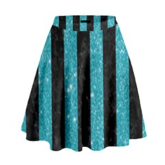 Stripes1 Black Marble & Turquoise Glitter High Waist Skirt by trendistuff