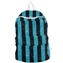 Stripes1 Black Marble & Turquoise Glitter Foldable Lightweight Backpack by trendistuff
