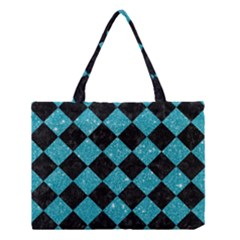 Square2 Black Marble & Turquoise Glitter Medium Tote Bag by trendistuff
