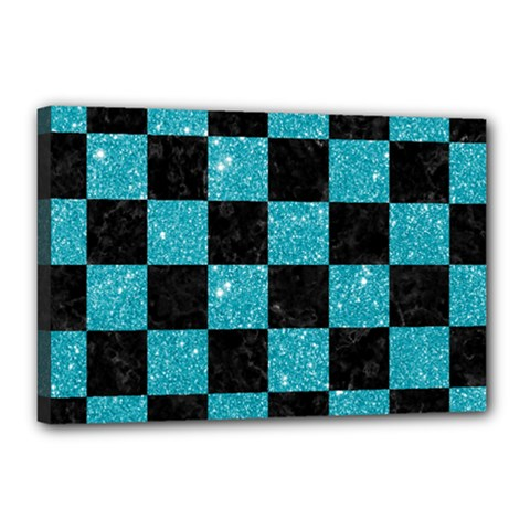 Square1 Black Marble & Turquoise Glitter Canvas 18  X 12  by trendistuff