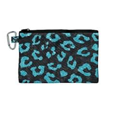 Skin5 Black Marble & Turquoise Glitter Canvas Cosmetic Bag (medium) by trendistuff