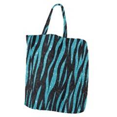 Skin3 Black Marble & Turquoise Glitter (r) Giant Grocery Zipper Tote by trendistuff