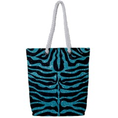 Skin2 Black Marble & Turquoise Glitter (r) Full Print Rope Handle Tote (small) by trendistuff