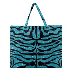 Skin2 Black Marble & Turquoise Glitter Zipper Large Tote Bag by trendistuff