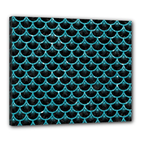 Scales3 Black Marble & Turquoise Glitter (r) Canvas 24  X 20  by trendistuff