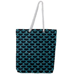 Scales3 Black Marble & Turquoise Glitter (r) Full Print Rope Handle Tote (large) by trendistuff