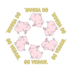 Go Vegan   Cute Pig Mini Folding Umbrellas by Valentinaart