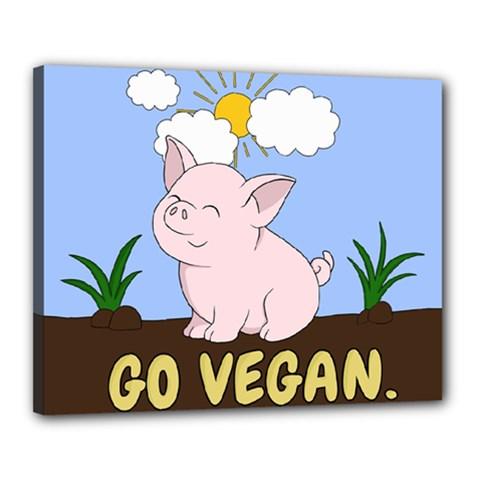 Go Vegan   Cute Pig Canvas 20  X 16  by Valentinaart