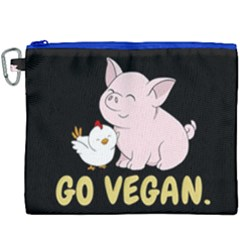 Go Vegan   Cute Pig And Chicken Canvas Cosmetic Bag (xxxl) by Valentinaart