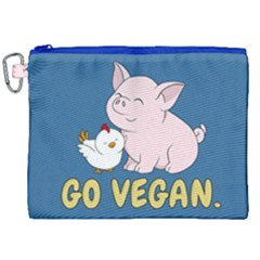 Go Vegan   Cute Pig And Chicken Canvas Cosmetic Bag (xxl) by Valentinaart