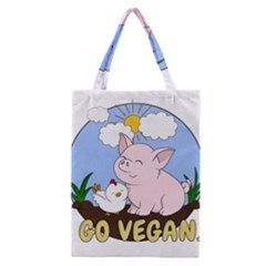 Go Vegan   Cute Pig And Chicken Classic Tote Bag by Valentinaart