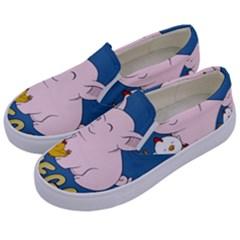Go Vegan   Cute Pig And Chicken Kids  Canvas Slip Ons by Valentinaart