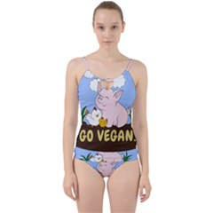 Go Vegan   Cute Pig And Chicken Cut Out Top Tankini Set by Valentinaart