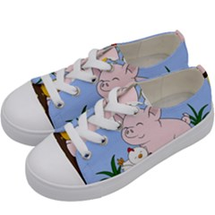 Go Vegan   Cute Pig And Chicken Kids  Low Top Canvas Sneakers by Valentinaart